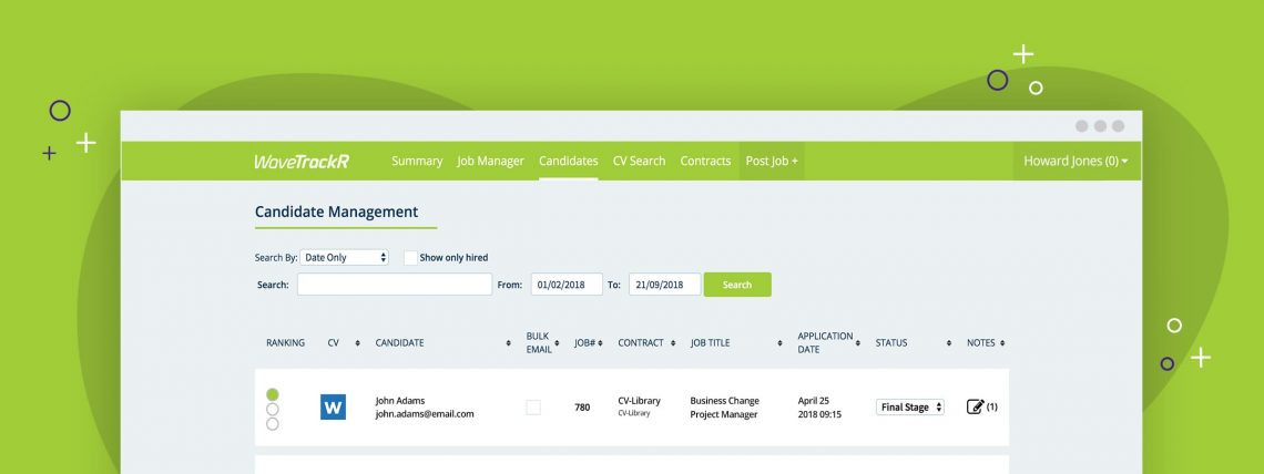 Screenshot of candidate management page on WaveTrackR.